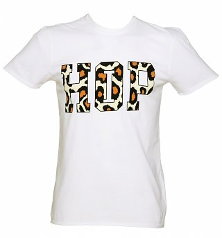 Men's White Flocked Hip Hop Print T-Shirt from Amplified
