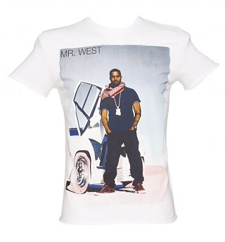 Men's White Kanye West T-Shirt from Amplified