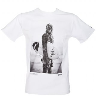 Men's White Star Wars Wookiee Surfer T-Shirt from Chunk