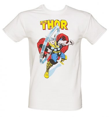 Men's White The Mighty Thor Marvel T-Shirt