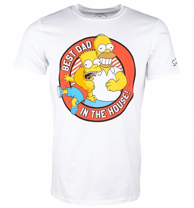 Men's White The Simpsons Best Dad In The House T-Shirt