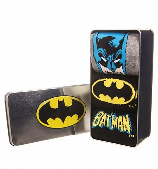 Pack Of 3 DC Comics Batman Socks In Tin