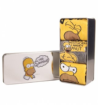 The Simpsons Homer Simpson Doh! Tin of 3 Socks