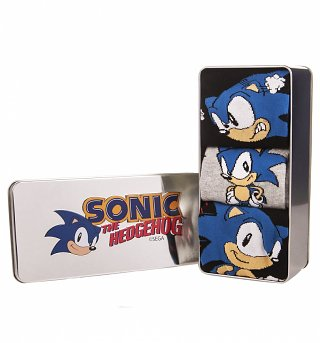 Pack Of 3 Sonic The Hedgehog Socks In Tin