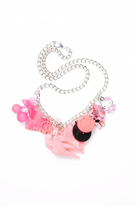 Pink Multi-Mega Retro Charm Necklace from Rock N Retro
