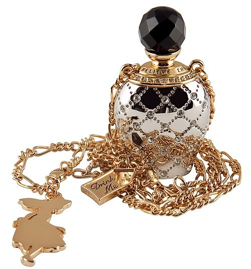 Platinum Plated Drink Me Alice In Wonderland Perfume Bottle Necklace from Disney Couture