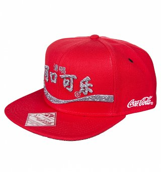 Red Snap Back Japanese Logo Coca-Cola Baseball Cap