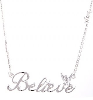 Silver Plated Believe Tinker Bell Necklace from Disney Couture