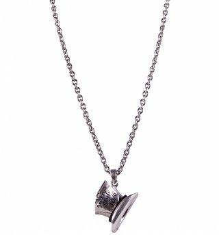 Silver Plated Mad Hatter Top Hat Alice In Wonderland Necklace from Disney Couture