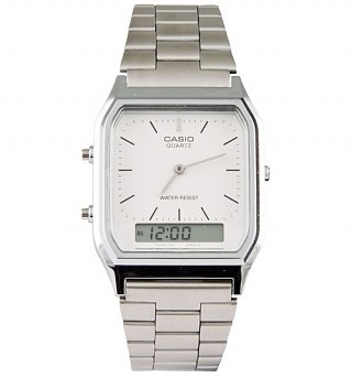 Silver Retro Dual Time Watch AQ-230A-7DMQYES from Casio
