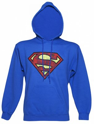 Unisex Blue Distressed Superman Logo Hoodie