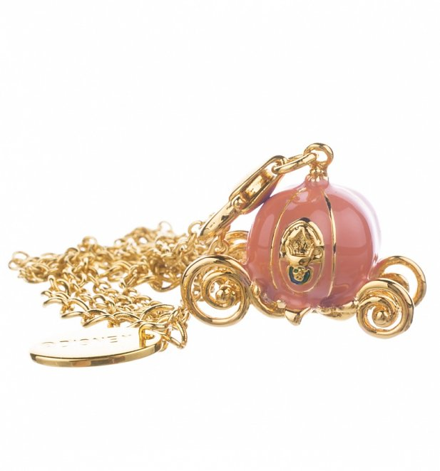 14Kt Gold Plated And Enamel Cinderella Pumpkin Carriage Charm And Necklace from Disney Couture
