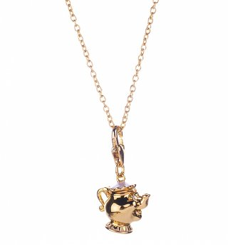 14Kt Gold Plated Beauty And The Beast Mrs Potts Charm And Necklace from Disney Couture