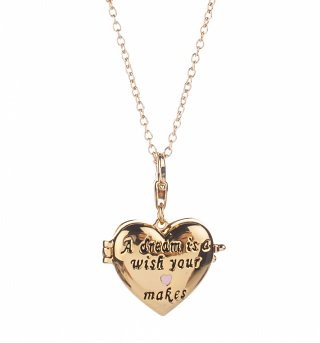 14Kt Gold Plated Cinderella Dream Is A Wish Your Heart Makes Locket Charm And Necklace from Disney Couture