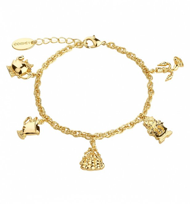 14kt Gold Plated Beauty & The Beast Characters Charm Bracelet from Disney Couture