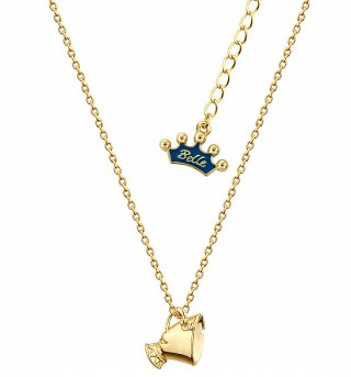 14kt Gold Plated Beauty & The Beast Chip Necklace from Disney Couture
