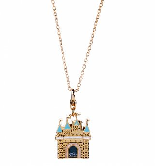 14kt Gold Plated Disney Princess Castle Charm Necklace from Disney Couture