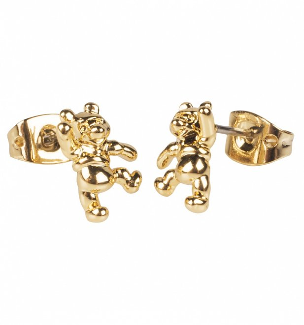 14kt Gold Plated Winnie The Pooh Stud Earrings from Disney by Couture Kingdom