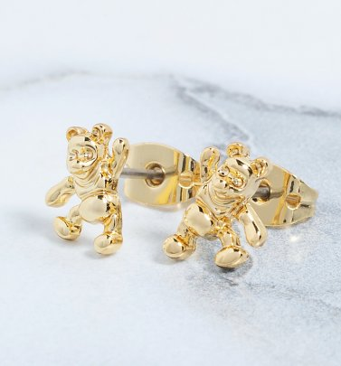 14kt Gold Plated Winnie The Pooh Stud Earrings