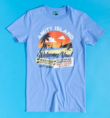 Amity Island Welcomes You Blue T-Shirt