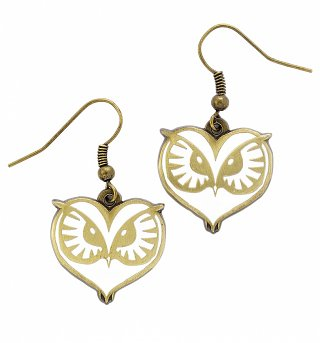 Antique Gold Plated Fantastic Beasts And Where To Find Them Owl Face Drop Earrings