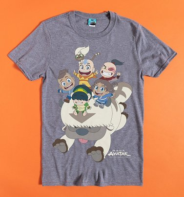 Avatar The Last Airbender Chibi Gang Grey Marl T-Shirt