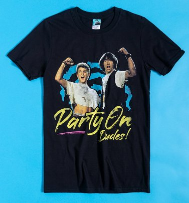 Bill And Ted Party On Dudes Black T-Shirt