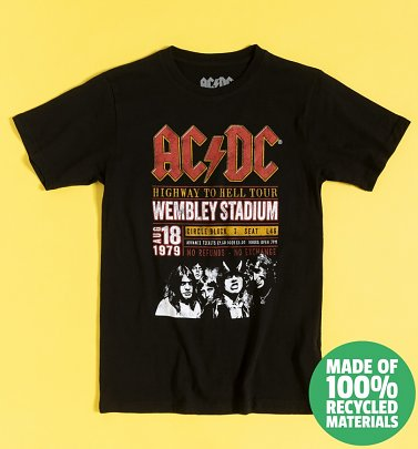 Black AC/DC Wembley '70 Recycled Eco T-Shirt