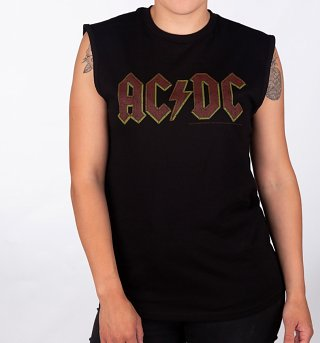 Black AC/DC Logo Sleeveless T-Shirt from Amplified