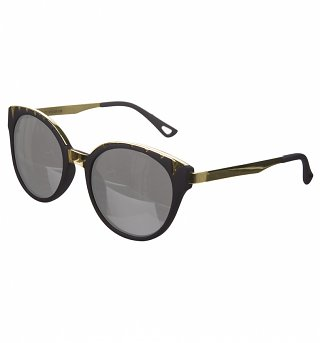 Black And Gold Retro Oversized Sunglasses from Jeepers Peepers