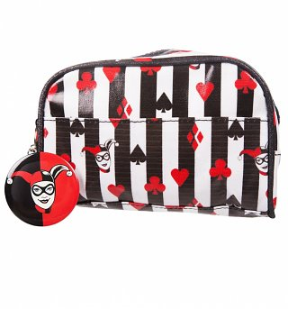 Black And White Stripe DC Comics Harley Quinn Make Up Bag