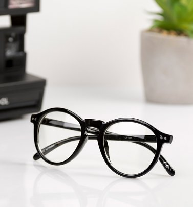 Black Frame Clear Round Glasses from Jeepers Peepers