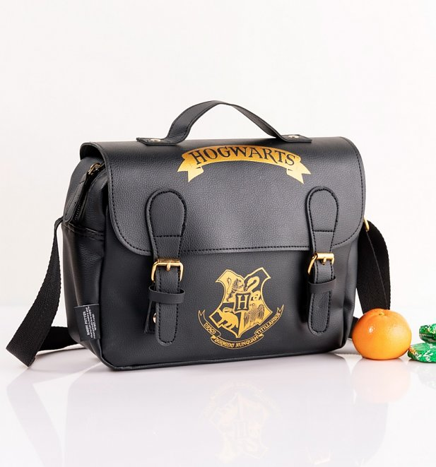 Black Harry Potter Hogwarts Satchel Style Lunch Bag
