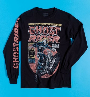 Black Marvel Comics Ghost Rider Long Sleeve T-Shirt with Sleeve Print