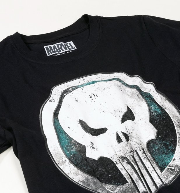 Black Marvel Distressed Punisher Skull T-Shirt