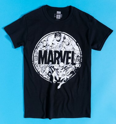Black Marvel Superheroes Circle T-Shirt
