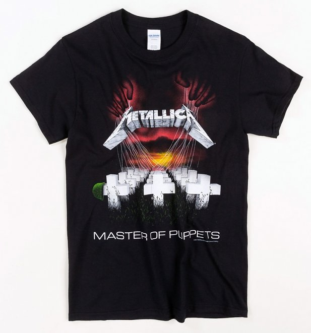 Black Metallica Master Of Puppets '86 European Tour T-Shirt with Back Print