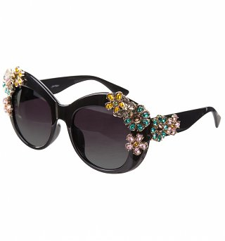 Black Oversized Sunglasses With Floral Embellishment from Jeepers Peepers