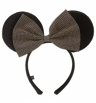 Black Plush And Studded Bow Disney Minnie Mouse Ears Headband