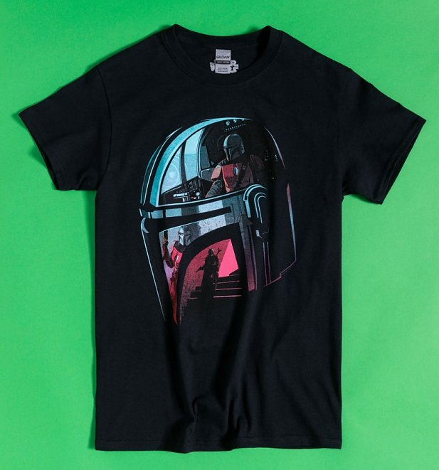 Black Star Wars Mandalorian Helmet Reflection T-Shirt