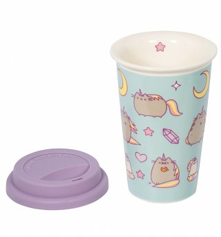 Blue Pusheen Unicorn Ceramic Travel Mug