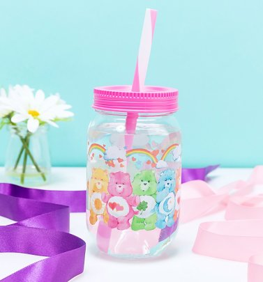 Care Bears Mason Jar With Straw