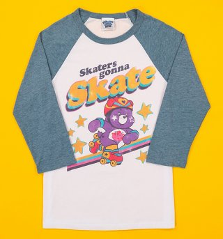 Care Bears Skaters Gonna Skate White and Blue Baseball Tee