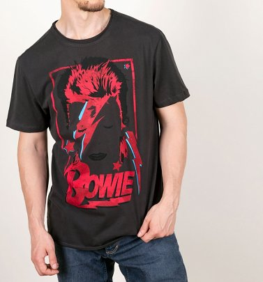 Charcoal Aladdin Sane Anniversary David Bowie T-Shirt from Amplified
