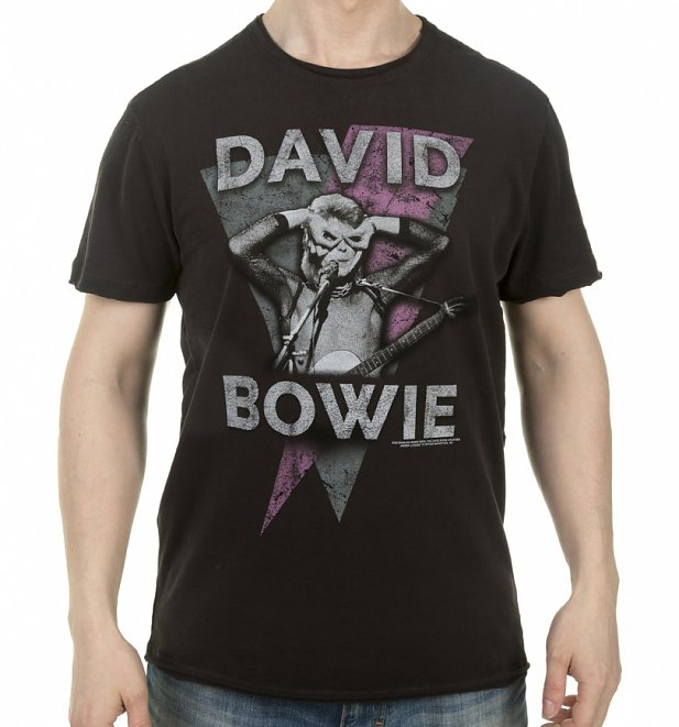 Charcoal David Bowie Look Into My Eyes T-Shirt from Amplified