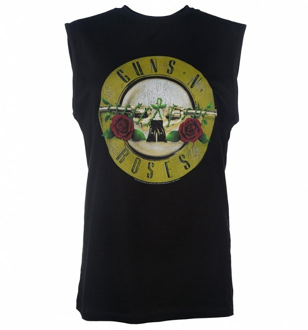 Black Guns N' Roses Drum Logo Sleeveless T-Shirt from Amplified