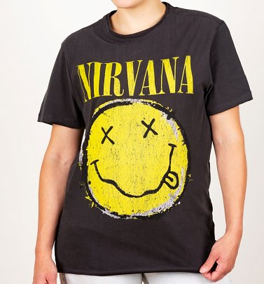 Charcoal Nirvana Distressed Smiley T-Shirt from Amplified