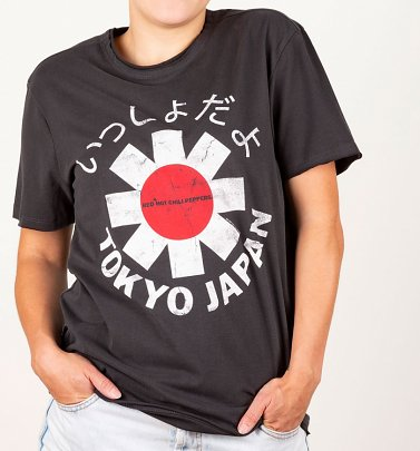 Charcoal Red Hot Chili Peppers Tokyo Japan T-Shirt from Amplified