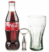Coca-Cola Christmas Contour Glass, Bottle and Opener Gift Set