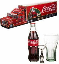 Coca-Cola Christmas Contour Glass, Bottle and Opener Truck Gift Set
